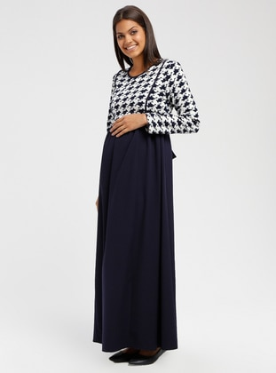 Navy Blue - Multi - Crew neck - Unlined - Maternity Dress