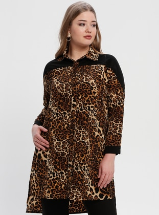 Black - Golden tone - Leopard - Point Collar - Tunic