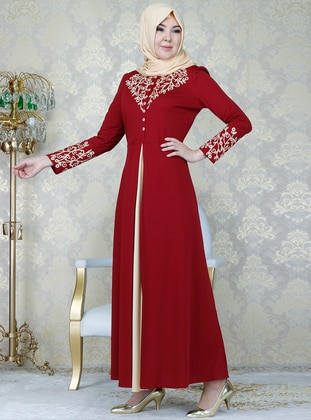 Maroon , Unlined , Crew neck , Muslim Evening Dress