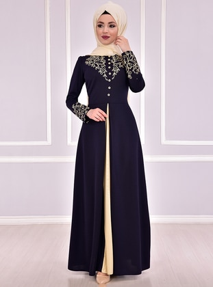 Navy Blue - Unlined - Crew neck - Muslim Evening Dress - AYŞE MELEK TASARIM