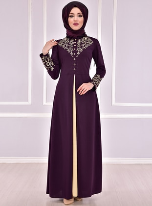 Plum - Unlined - Crew neck - Muslim Evening Dress - AYŞE MELEK TASARIM