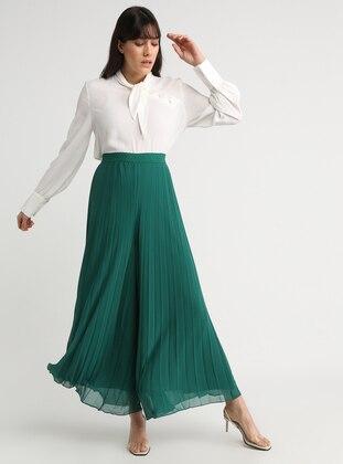 Green - Chiffon - Pants