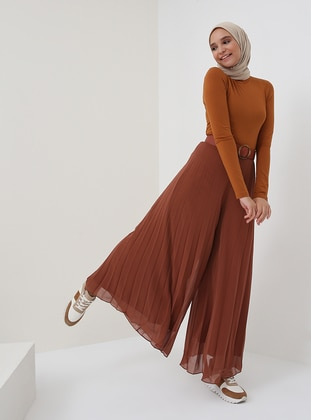 Brown - Tan - Chiffon - Pants