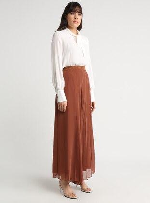 Brown - Tan - Chiffon - Pants
