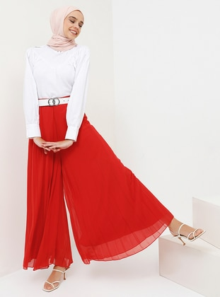 Red - Chiffon - Pants