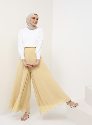 Yellow - Chiffon - Pants