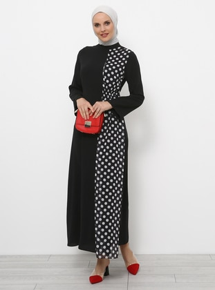 Black - Polka Dot - Polo neck - Unlined - Dresses