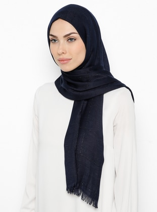 Navy Blue - Plaid - Patterned Side - Shawl