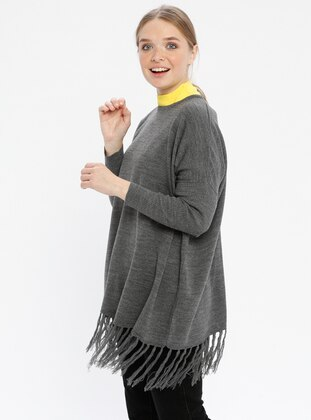 Gray - Crew neck - Knitwear