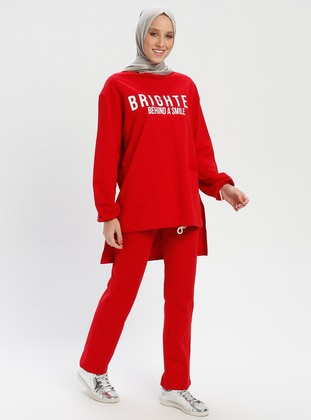 Red - Unlined - Cotton - Suit