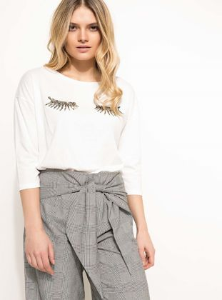 Ecru - T-Shirt - DeFacto