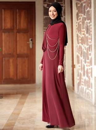 Maroon - Fully Lined - Crew neck - Jumpsuit - Rana Zenn