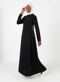Black - Crew neck - Unlined - Crepe - Dresses