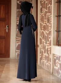 Lacivert - Yuvarlak yakalı - Astarsız kumaş - Krep - Elbise