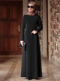Black - Crew neck - Unlined - Crepe - Dresses