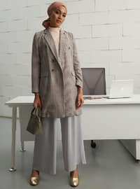 Orange - Checkered - Unlined - Point Collar - Crepe - Jacket