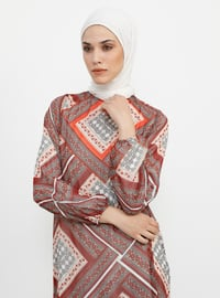 Red - Multi - Crew neck - Fully Lined - Dresses