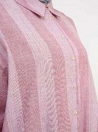 White - Maroon - Stripe - Point Collar - Cotton - Tunic