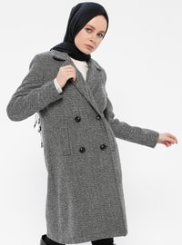 Gray - Fully Lined - Shawl Collar - Coat - Gzd