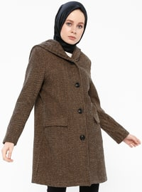 Camel - Fully Lined - Shawl Collar - Coat - Gzd