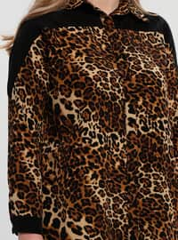 Black - Golden tone - Leopard - Point Collar - Tunic