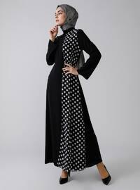 Black - Polka Dot - Polo neck - Unlined - Dresses