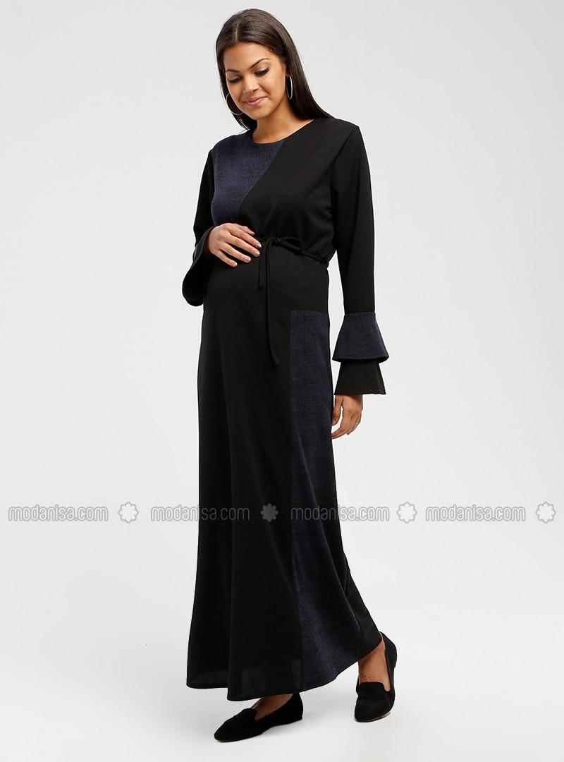 aaa72dc388e Navy Blue - Crew neck - Unlined - Maternity Dress. Fotoğrafı büyütmek için  tıklayın