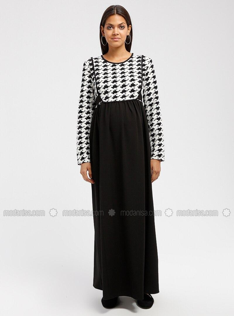 6591ce0d79b Black - Multi - Crew neck - Unlined - Maternity Dress