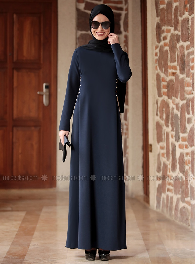 Navy Blue - Crew neck - Unlined - Crepe - Dresses