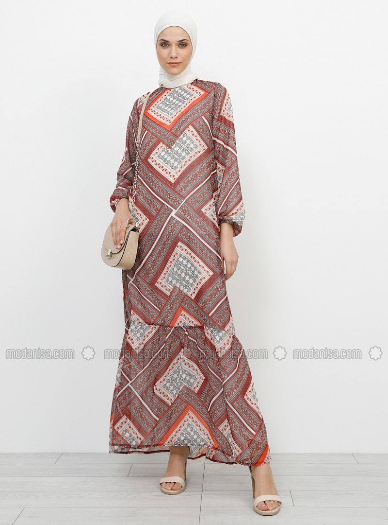 ae230188c2084 Desenli Şifon Elbise - Kırmızı
