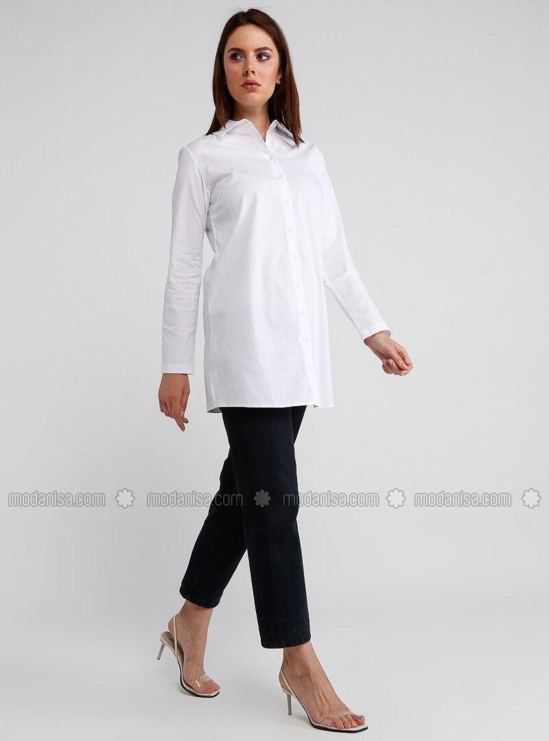 White - Saxe - Point Collar - Tunic