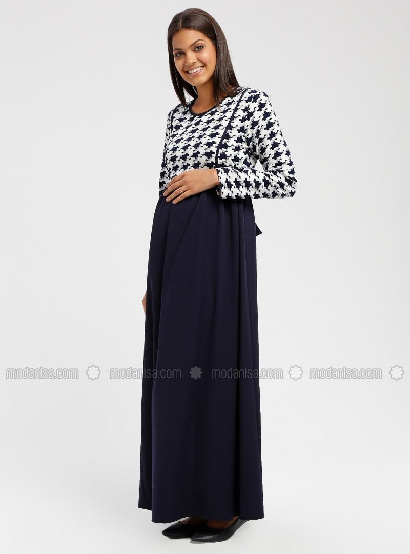 0c6829da363 Navy Blue - Multi - Crew neck - Unlined - Maternity Dress. Fotoğrafı  büyütmek için tıklayın