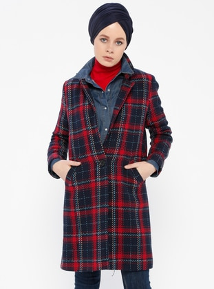 Navy Blue - Plaid - Fully Lined - Shawl Collar - Coat
