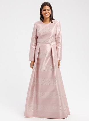 Dusty Rose - Crew neck - Fully Lined - Muslim Evening Dress
