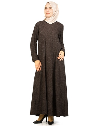 Brown - Crew neck - Unlined - Cotton - Dresses