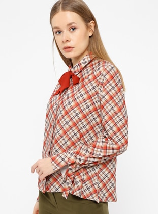 Terra Cotta - Plaid - Point Collar - Blouses