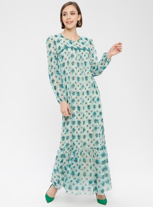 Mint - Floral - Crew neck - Fully Lined - Dresses