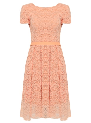 Salmon - Crew neck - Fully Lined - Dresses