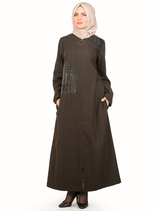 Black - Khaki - Stripe - Unlined - Crew neck - Plus Size Coat - NAKŞİN