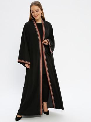 Black - Maroon - Multi - Unlined - V neck Collar - Abaya