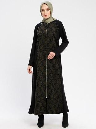 Black - Khaki - Unlined - Crew neck - Coat