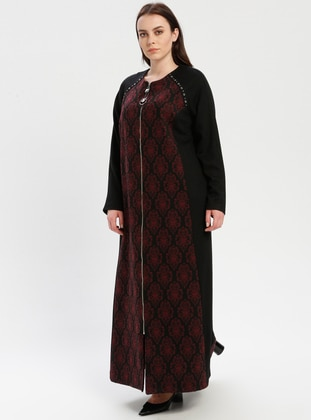 Black - Plum - Multi - Unlined - Crew neck - Plus Size Coat