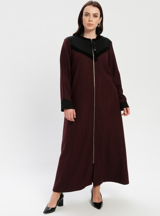 Black - Plum - Multi - Crew neck - Plus Size Coat