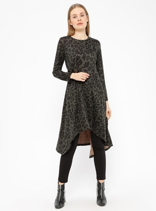 Green - Leopard - Crew neck - Tunic