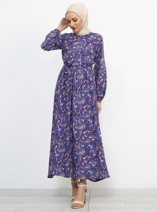 Lilac - Multi - Polo neck - Unlined - Viscose - Dresses