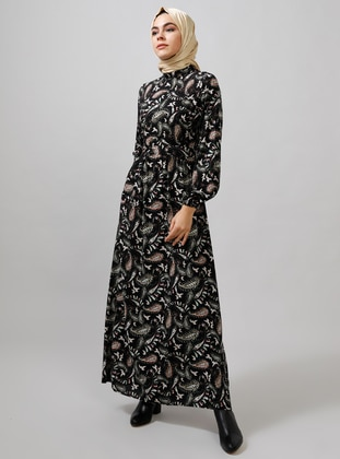 Black - Multi - Polo neck - Unlined - Viscose - Dresses