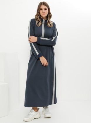 Gray - Indigo - Unlined - Polo neck - Plus Size Dress