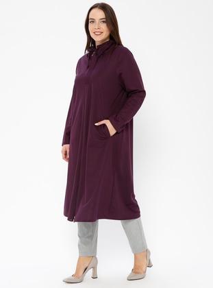 Plum - Unlined - Polo neck - Plus Size Coat