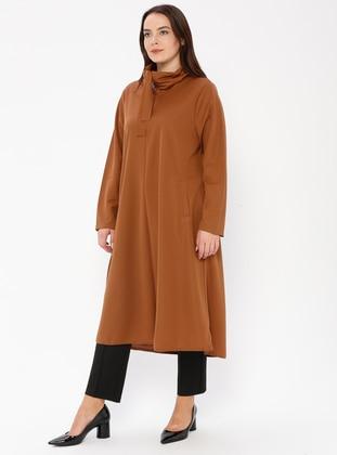 Tan - Unlined - Polo neck - Plus Size Coat