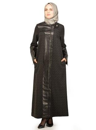 Black - Multi - Unlined - Crew neck - Coat